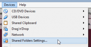 Shared folder settings menu